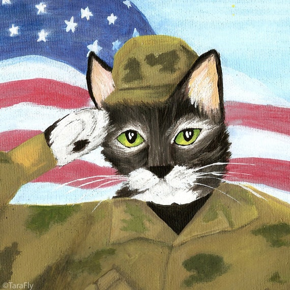 USA Cat Art, Soldier ARMY Cat Saluting American Flag, 8x10 Print CLEARANCE