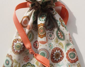 Lined Drawstring Fabric Gift or Make Up Bag