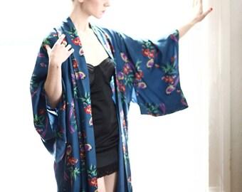 Vintage Kimono in Blue Bird Print