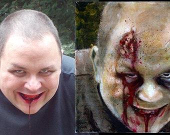 """Custom zombie portrait  6X6"""""""