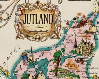 Pictorial Vintage DENMARK Map of Jutland Denmark Print HUMOROUS Travel Map Gallery Wall Art Gift for Boyfriend Birthday Gift
