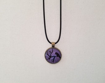 Hand painted purple bird silhouette pendant
