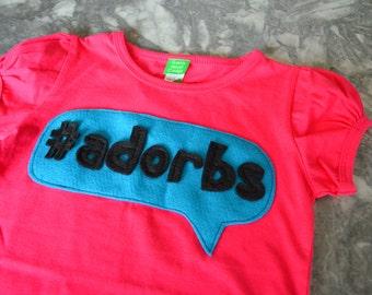 Fuchsia #adorbs top, girls t-shirt, wink t-shirt, girls onezee, girls onesie, girls clothing, hashtag t-shirt, children's clothing