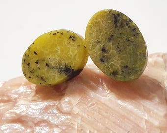 Serpentine Studs/Natural Gemstone Studs/Serpentine Gemstone Stud Earrings/Serpentine Posts/Natural Gemstone Earrings/Green Studs/Serpentine