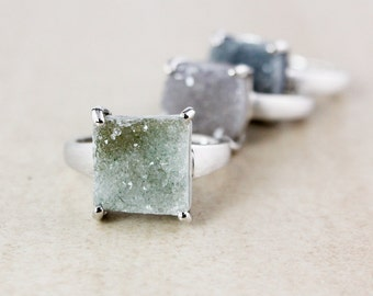 Earthy Cushion Cut Druzy Rings - Choose Your Druzy - Sterling Silver