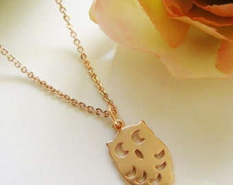 Rose Gold Necklace, Tiny Owl Necklace, Small Owl Charm, Modern, Owl die Cut, Jewelry Pendant, Redpeonycreations