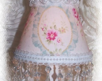 Romantic Cameo Victorian Cottage Chic Pink Roses with Long Blue Beaded Fringe MINI LAMP SHADE
