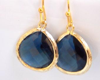 Wedding Jewelry, Blue Earrings, Bridal, Montana blue, Gold, Navy Blue, Bridesmaid Jewelry, Bridesmaid Earrings, Dangle, Bridesmaid Gifts,
