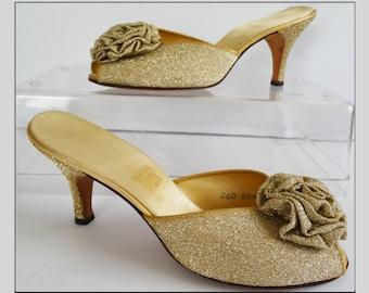 Vintage 1940s Slippers//40s Slippers//Daniel Green//Gold Shimmer//Boudoir Slippers//40s Heels//Open Toe//Pumps