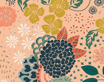 "Roses/Flowers with Light Peach Background- Quilting 100% Cotton Fabric 45"" wide [[by the half yard]]"