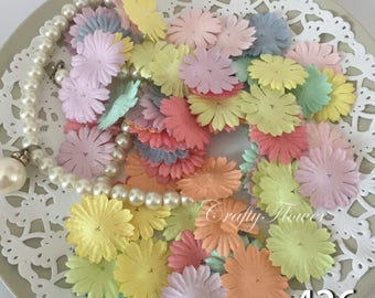 100 Variations Listing Small Daisy Die Cut Topper Paper Flowers Scrapbooks Wedding Card Making 70p