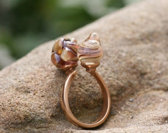 Glass ring Adjustable Glass lampwork jewelry boho gift wife unique jewelry bronze lampwork ring Lampwork cabochon ring, Florals, Bronze ring