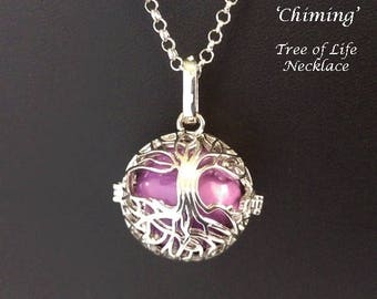 Chiming Tree of Life Necklace, Chimes with Movement - Celtic Tree of Life Cage with a Purple Harmony Chime Ball | Harmony Necklace, 128