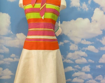 Vintage 1960s vibrant striped drop waist day dress// size 10 Stacy Ames// New Old Stock// New with tags// NOS