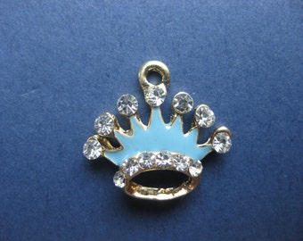 5 Crown Charms - Crown Pendants - Princess Charm - Princess Crown Charm - Enamel Princess Crown - Gold Plated - 20mm x 18mm -- (L2-10943)