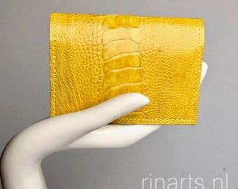 Card holder / wallet in yellow  genuine ostrich (leg) leather and mint suede lining. Gift for woman. OOAK card holder. Ostrich wallet