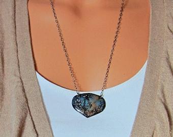 Long enamel bib necklace Handmade brown and blue earthy artisan pendant Enameled copper bohemian jewelry