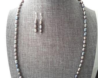 Graphite Gray Freshwater Pearl Jewelry Set . Necklace . Earrings . Bracelet