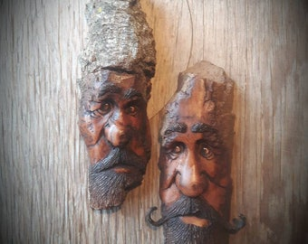 Wood spirit combo whimsy by Murray Watson bark carvings driftwood art wood carving cottage decor ooak wooden wood spirit Cottonwood bark.