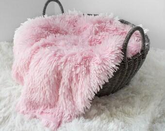 PINK Shaggy Faux Fur , Newborn Photo Prop, Medium Pile, Baby Photo Prop, Toddler Photo Prop, Thick Plush Faux Fur,Basket Stuffer.