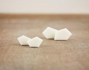 Geometric white minimal clay stud earrings, modern contemporary pentagon posts
