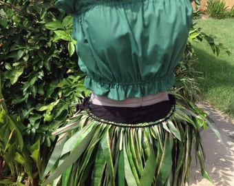 Adult & Children Silk Green Leaf Skirt Or Hula Skirt. Polynesian Green Leaf Skirt. Hula Skirt. For Both Male And Female Of All Ages!!