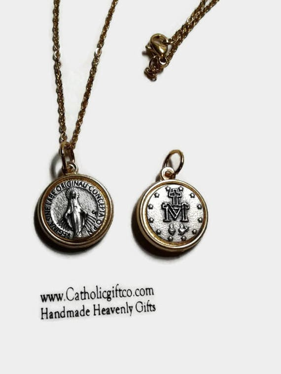"""Miraculous Medal Necklace -  5/8 """" Italian made - silver and gold tone - 18, 20, 22 or 24 inch stainless steel chain & lobster claw"""