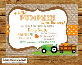 Green Tractor and Pumpkins Baby Shower Invitation | Green Tractor Baby Shower Invitation | Little Pumpkin Baby Shower Invitation