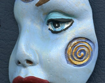 Polymer Clay Blue  textured Abstract Face Shard  SHBL 1