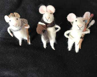 Set of 3 vintage felted mouse animals