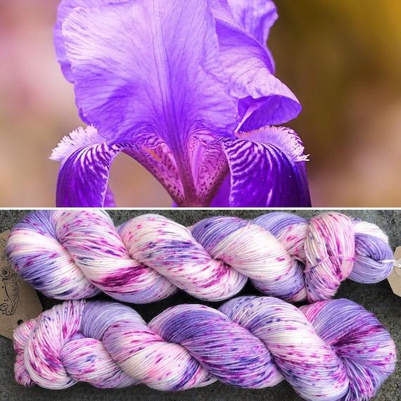 Spring Iris Sock Yarn, speckled 4ply merino nylon blend