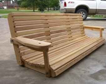 6 Ft Cypress Porch Swing - Unique Adjustable Seating Angle - Custom Engraving, Stain, and Cupholders Available