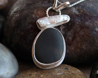 Sterling Silver Beach Stone and Stick Pearl Pendant