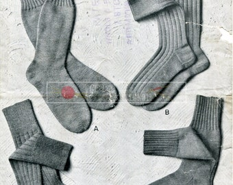 Men's Socks 3-ply and 4-ply Patons & Baldwins 137 Vintage Knitting Pattern PDF instant download