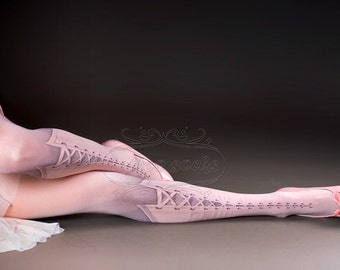 Tattoo Tights - Lolita Corset Light Pink one size full length printed closed toe tights pantyhose, tattoo socks, lace up 3D illusion