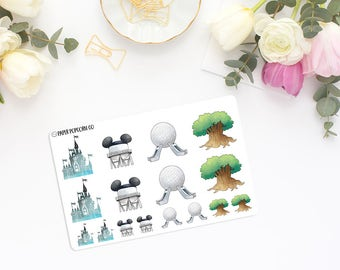 Disney World Park Icon Drawings - Planner and Scrapbooking Stickers
