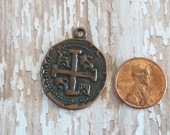 Antiqued Copper Pewter Cross Coin Charm or Pendant Jewelry Supply