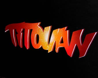 Theme: Supernova / / custom name wooden Plaque / / Graffiti