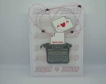 Love You card, Typewriter card, Handmade, Ombre XOXO, Mama Elephant, Type It, Love You and Heart letters