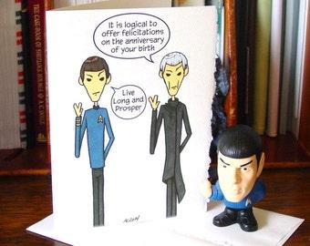 Spock Birthday Card - Live Long and Prosper - Star Trek - Spock Prime