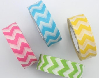 Clearance Sale  Zig Zag Washi Tape Masking Tape Pink Blue Yellow Green 15mm x 10m