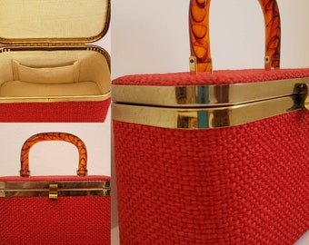 Vintage 1960's Small Red Woven Wool Train Case with Gold Metal Hardware and Lucite Handle / Vintage Luggage