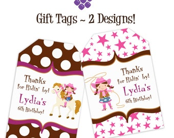 Cowgirl Gift Tags - Pink Stars and Brown Polka Dots, Cowgirl and Horse Personalized Birthday Party Gift Tags - A Digital Printable File