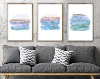 Abstract landscape, large wall art, large abstract art, watercolor painting, watercolor art, modern painting, modern abstract art, art print