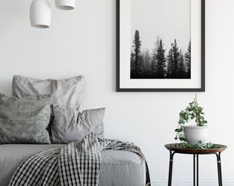 Foggy Forest Foggy Tree Print Forest Mist BW Print Foggy Photography Forest Print Black and White Forest Art