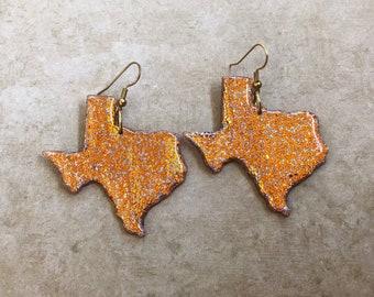 Copper Texas shaped earrings / Big texas earrings / State jewelry
