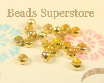 2 mm Gold-Plated Brass Crimp Bead - Nickel Free and Lead Free - 200 pcs (CRB2G)