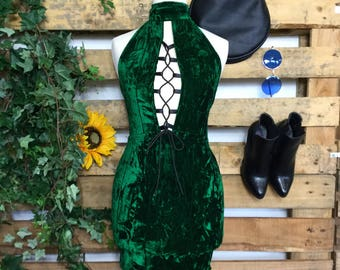 Handmade high neck velvet dress with plunge lace up front and tie back