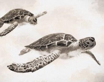 Sea Turtle,  Sepia, Sea Turtle Illustration, Turtle Print, Turtle Art, Sea Turtle Painting, Beach Decor, Ocean Art, Tag Along I