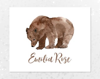 Personalized Bear Nursery Art Print Printable Wall Art, Watercolor Bear, Woodland Animals, Forest Animals, Natural Nursery Art, Neutral